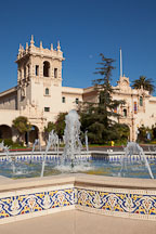 Fountain and the House of Hospitality in Balboa Park. San Diego, California. - Photo #25869