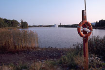 Lifebuoy and Lake Toolonlahti. Helsinki, Finland - Photo #369