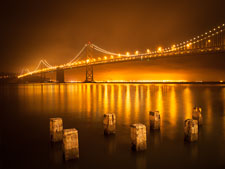 Oakland Bay Bridge and pylons at night. - Photo #32069