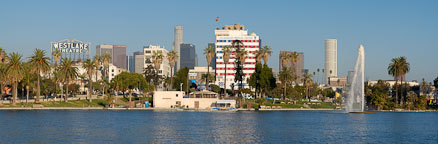 Panorama of MacArthur Park. Los Angeles, California, USA. - Photo #7969