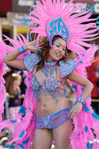 Woman in costume with pink feathers. Carnaval's grand parade. San Francisco, California, USA. - Photo #6207