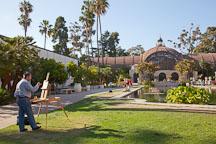 Man painting the botanical building. Balboa Park, San Diego. - Photo #25871