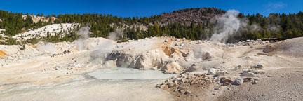 Panorama of Bumpass Hell mud pools. Lassen Volcanic National Park, California. - Photo #27071