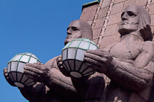 The Railway Station. Statues by Emil Wikstrom. Helsinki, Finland. - Photo #371