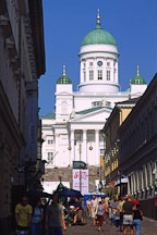 Cathedral in Senate Square seen through an alley. (Tuomiokirkko). St. Nicholas' Church. Helsinki, Finland. - Photo #372