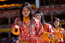 Women in traditional folk dance. Thimphu tsechu, Bhutan. - Photo #22672
