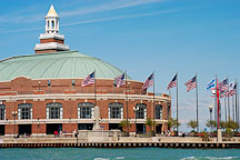Grand ballroom and American flags. Navy Pier, Chicago, Illinois, USA. - Photo #10773