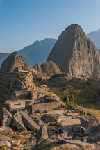 Rock quarry and main temple. Machu Picchu and Huayna Picchu (background). Peru. - Photo #9973