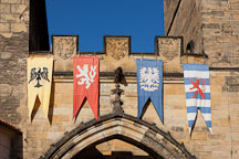 Flags on the little quarter bridge tower. Prague, Czech Republic. - Photo #29975
