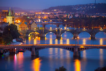 Prague bridges at night. - Photo #30275