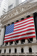 American flag and New York Stock Exchange. New York City, New York, USA. - Photo #13176