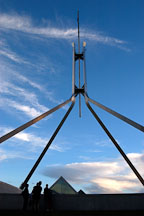 Stainless steel flagpole at Parliament House. Canberra, Australia. - Photo #1476