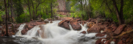 Panorama of South Boulder Creek in Eldorado Canyon. - Photo #33177