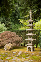 Stone pagoda at the Portland Japanese Garden. - Photo #28177
