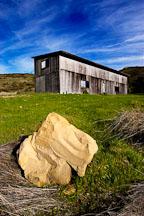 Boulder and Abandoned barn. Russian Ridge Open Space Preserve. California. - Photo #3378
