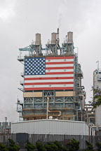 American flag and the ARCO refinery, Carson, California, USA. - Photo #6906