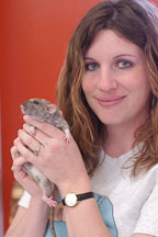 A volunteer holds her pet rat. The Wonderful World of Rats, San Mateo, California, USA. - Photo #6073