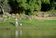 Man fishing in the La Sabana Park. San Jose, Costa Rica. - Photo #14308
