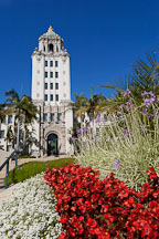 Flowers and Beverly Hills City Hall. Beverly Hills, California, USA. - Photo #7180