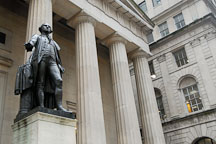 George Washington statue on Wall Street. New York City, New York, USA. - Photo #13180