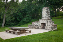 Stone fireplace in Saunders Park. Mount Pleasant, Iowa. - Photo #32980