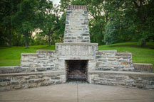 Stone fireplace in Saunders Park. Mount Pleasant, Iowa. - Photo #32981