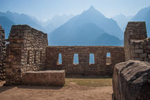 Northeast facing wall with windows. Machu Picchu, Peru. - Photo #10081