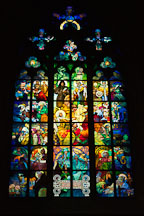 Alfons Mucha stained-glass window in Saint Vitus Cathedral. Prague, Czech Republic. - Photo #29682