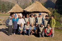 Team of porters and guides near kilometer 88 on the Inca trail. Peru. - Photo #9684