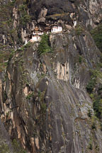 Taktshang Goemba sits 700 meters above the Paro Valley floor. Paro district, Bhutan - Photo #24285