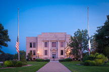 Henry County Courthouse with flags at half mast. Mount Pleasant, Iowa. - Photo #32986