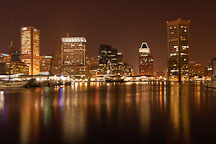 Inner Harbor at night. Baltimore, Maryland, USA. - Photo #3986