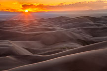Sunset viewed from high dune. Great Sand Dunes NP, Colorado. - Photo #33186