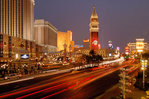 Traffic light trails on Las Vegas Boulevard. Nevada, USA. - Photo #13486