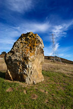 Large boulder and electric tower. Russian Ridge Open Space Preserve. California. - Photo #3387