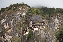 Taktshang Goemba, the Tiger's Nest monastery, is located on a sheer cliff. Paro Valley, Bhutan. - Photo #24287