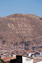 Viva el Peru is written into the hills. Cusco, Peru. - Photo #9489