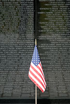 American flag at the Vietnam Veteran's Memorial Wall. Washington, D.C., USA. - Photo #12709