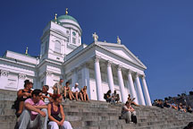 People sitting on the steps of the Cathedral. St. Nicholas' Church. Helsinki, Finland. - Photo #409