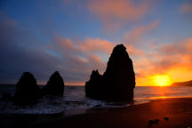 Sea stacks at Rodeo Beach. Marin County, California. - Photo #26890