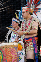 Aztec drummer. Carnaval's grand parade. San Francisco, California, USA. - Photo #6191