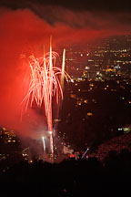 Fireworks at the Hollywood bowl seen from Mulholland Drive. Los Angeles, California, USA. - Photo #7091