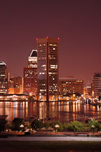 World trade center at night. Inner harbor, Baltimore, Maryland, USA. - Photo #3992