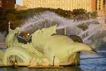 Seahorse at Buckingham Fountain, early morning. Chicago, Illinois, USA. - Photo #10494