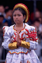 Girl looking pensive. Carnaval's grand parade. San Francisco. - Photo #1094