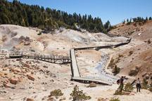 Hikers at Bumpass Hell. Lassen NP, California. - Photo #27095