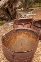Rusted whaler's try pot for melting blubber into oil. Point Lobos, California. - Photo #26995