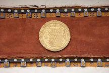 Detail of gold disk at Chimi Lhakhang. Lobesa Valley, Bhutan. - Photo #23596