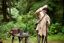 Musket loading demonstration. Fort Clatsop, Oregon. - Photo #28596