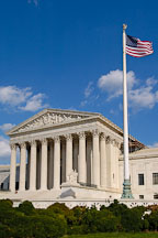 The U.S. Supreme Court and American flag. Washington, D.C., USA. - Photo #11296